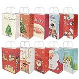 RIOGOO 10 PCS Sacs de cadeaux de Noël, Sacs de vente au détail Sacs de fête en papier Sac Kraft avec poignée pour Noël, anniversaire, fête du thé, célébration de mariage et fête