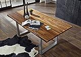 MASSIVMOEBEL24.DE Massiv Esstisch Baumkante Baumtisch Akazie 160x100x76 walnuss lackiert Freeform2#01