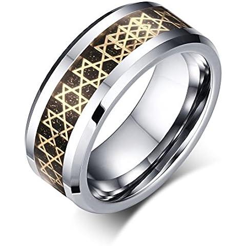 Vnox Fibra stella carburo di tungsteno anello carbonio 8 millimetri degli uomini di David Inlay aggancio di cerimonia nuziale Band,Argento
