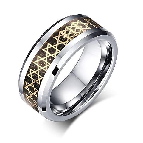 Vnox 8mm Mens Tungsten Carbide Ring Carbon Fiber Star of David Inlay Wedding Engagement Band,Silver,UK Size X