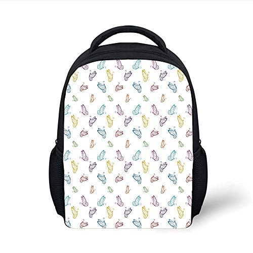 Kids School Backpack Butterfly,Doodle Style Various Animals Rainbow Colored Abstract Line Creatures Dotted Wings Decorative,Multicolor Plain Bookbag Travel Daypack Glitter Mesh Wings