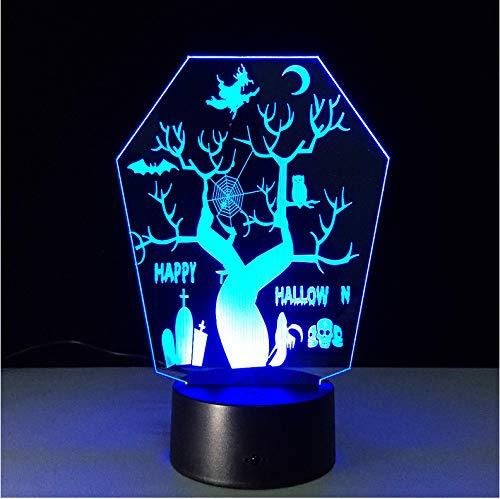(3D LED Nachtlicht Halloween Baum Kopf Dekoration Visuelle Stereo Kleine Tischlampe Kreative Geburtstagsgeschenk Nachtlicht Hexe Baum)