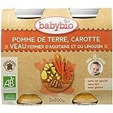Babybio Pots Pomme de Terre Carotte/Veau d'Aquitaine/du Limousin 400 g -