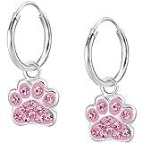 JAYARE Kinder Tier-Pfoten Creolen mit 24 Glitzer-Kristallen 925 Sterling Silber 22 x 9 mm rosa-pink Mädchen Tatzen Ohrringe