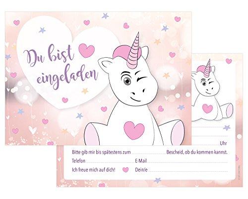 BE UNICORN | 14er Set Einladungskarten Mit Süßem Einhorn In Rosa Und Pastel  Mit Herz | Kartenset, Postkarte | Für Kindergeburtstag, Motto Party, ...