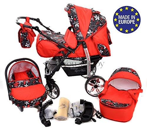3-in-1 Travel System con carrozzina, seggiolino auto, passeggino sportivo e accessori CON RUOTE GIREVOLI