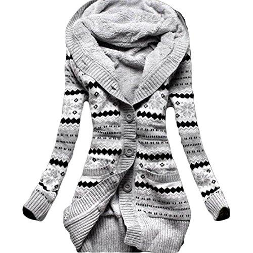 Daman Mit Kapuze langen loose gestreift Warm Abschnitt sowie dicke Samt Gestrickt knopf Strickjacke outwear Mäntel Tunika Parka hoodie Tuniken Kapuzenpullis Kapuzenpullover Kapuzenjacke (EU(40)(L))