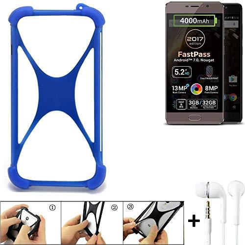 K-S-Trade Bumper Allview P9 Energy Lite (2017) Schutzhülle Handyhülle Silikon Schutz Hülle Cover Case Silikoncase Silikonbumper TPU Softcase Smartphone, Blau (1x), Headphones