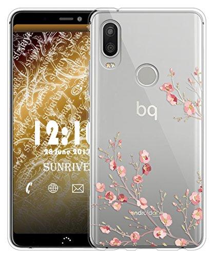 Sunrive Für bq Aquaris X2/X2 PRO Hülle Silikon, Transparent Handyhülle Schutzhülle Etui Case für bq Aquaris X2/X2 PRO(TPU Blume)+Gratis Universal Eingabestift