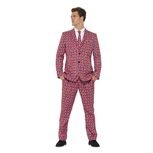 Adult Mens Union Jack Stand Out Suit Fancy Dress Funny Costume Stag Do Party Outfit (M, L, XL) (Chest 42
