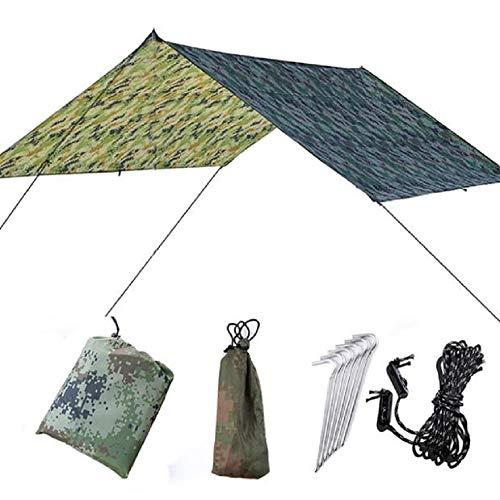ZMJY Hängematten-Regen-Fliegen-Zelt, leichte wasserdichte und regensichere Plane mit Montagezusatz-Speicher-Tasche für das Wandern/die Hängematte/das Kampieren (Fliegen Hängematte Bei Regen Wandern)