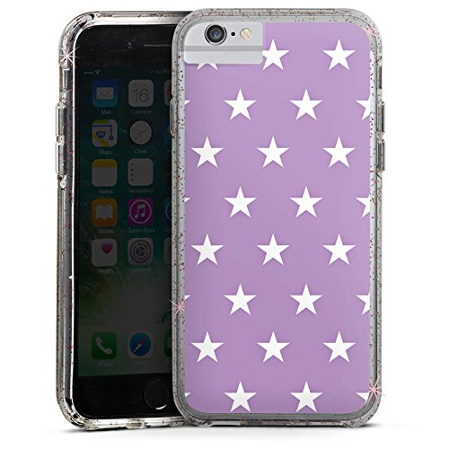 Apple iPhone 6s Bumper Hülle Bumper Case Glitzer Hülle Sterne Stars Polka Bumper Case Glitzer rose gold