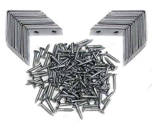 30St. Lochwinkel 40mm x 40mm Innenwinkel 90 Grad Winkel Set mit Schrauben Winkelklammer Montage-Metall-Winkel Eckwinkel Wandhalter Möbelwinkel (Winkel)