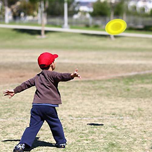 Finebuying Mini Fliegende Scheibe, Fliegende Spiel, Kreative Handschub-UFO für Sport, Spin On The Game of Catch, Fitness Spiele Gratis, Capture Spiel für Kinder und Erwachsene 6,5 cm (Gelb)