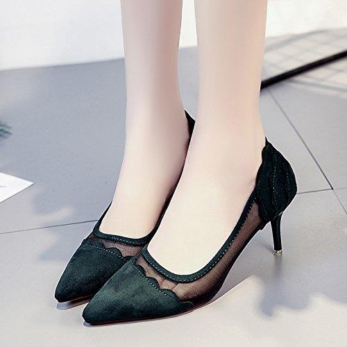 Rugai-eu Été Pointe Peu Profonde Chaussures À Talons Hauts Chaussures Confortables Femmes Vertes