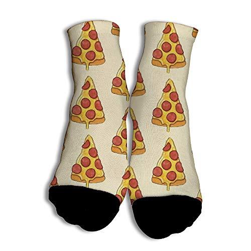 GlücklicherBettler Lustig Yellow Bottom Pizza Bedruckte Knöchelsocken mit Soft für Teenagers Spazierengehen White