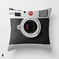 Calistouk nuevo diseño 3d cámara funda de almohada suave cojín lino y algodón casa vida coche Decor