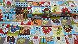 StoffBook BUNT BAUMWOLLSTOFF DINOS KINDER PATCHWORKSTOFF STOFF STOFFE, C422