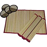 Table Mat/Table Placemat -Set Of 4 With 4 Coasters : MONTISA Handmade Organic Eco-Friendly River Grass/Korai Grass/Reed / Sedge Basketry/Madurkathi Table Mat/Table Place Mat- MTM88