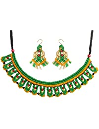 DollsofIndia Green With Yellow Macrame Thread Necklace - Adjustable Necklace - Earrings - 1.75 Inches (RD03) -...