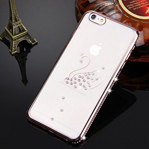 Wkae Case Cover Für iPhone 6 & 6s Diamant verkrustete Schwan-Muster Galvanotechnik Feld TPU-Schutzhülle ( Color : Rose Gold ) Rose Gold