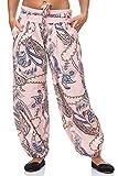 JillyMode Wunderschöne Leichte Haremshose aus Baumwolle in Viele Muster Gr.34-Gr.42 OneSize (H133-Rosa)