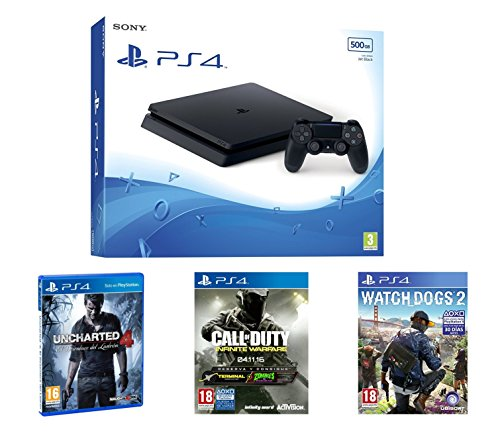 PlayStation 4 Slim (PS4) 500 GB - Consola + Call Of Duty: Infinite Warfare + Uncharted 4 + Watch Dogs 2