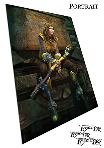 Warrior Lady in Fantasy Art Outfit mit Luminous Waffe, A0 - UCWREV