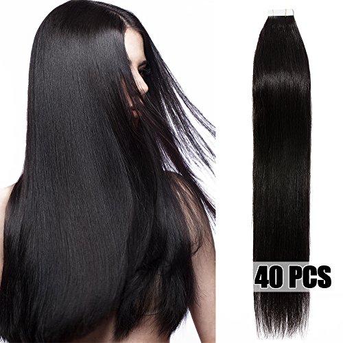 40 Pcs Extensions Adhesives Cheveux Naturels Bande Adhesive Tape in Human Hair Extensions 40CM - #1B Noir naturel