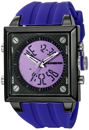 Cepheus Men's Quartz Watch with Purple Dial Analogue - Digital Display and Purple Silicone Strap CP900-633B