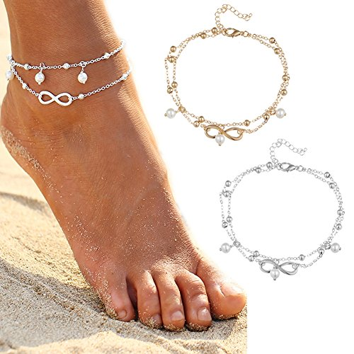 Vovotrade® Women Fshion Multi Layer Crystal Ball Bracelet Anklet Ankle Foot Chain Jewelry (Silver) i23vBCI1