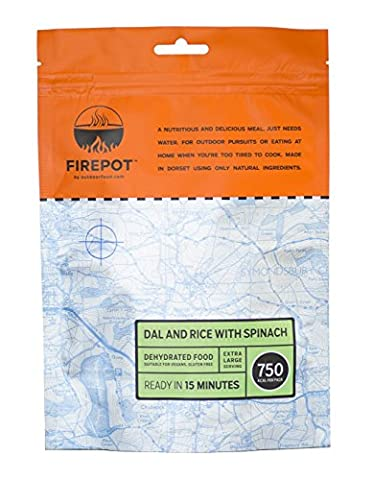 FIREPOT by Outdoorfood - Dal and Rice with Spinach (Extra Large) - Healthy Dehydrated Expedition