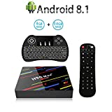 Android 8.1 TV Box,H96 MAX+ Smart TV Box con RK3328 Quad Core CPU,4GB RAM/64GB ROM Admite 4K 3D 2.4GHz/5.0GHz WiFi Bluetooth 4.0 con Mini Wireless Backlight Keyboard