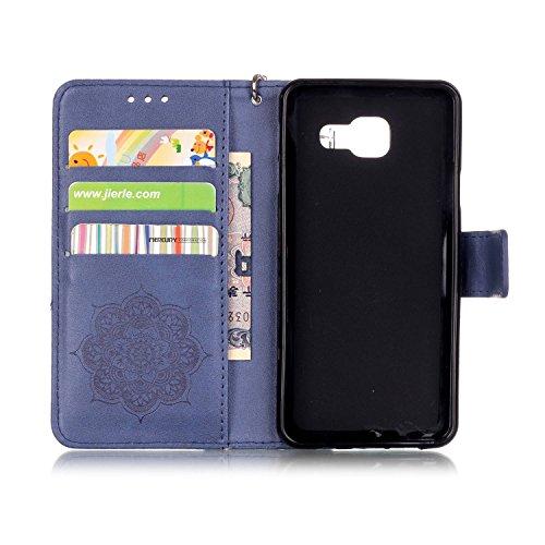 iPhone se, iPhone se étui en cuir, étui portefeuille pour iPhone 5S, toyym 3D coloré Motif attrape-rêves Premium Étui portefeuille en imitation cuir avec fermeture magnétique [] avec emplacements pour bleu