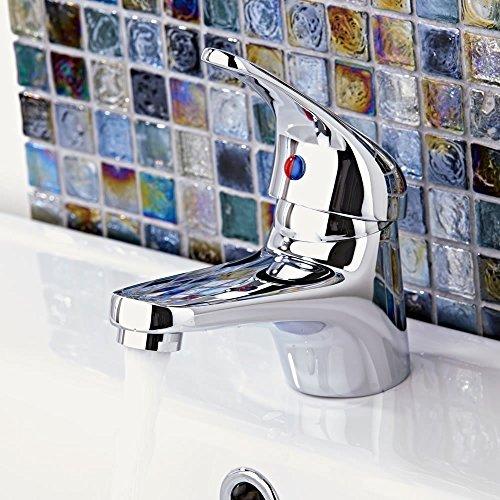 Wasserhahn Einhebel Armatur Waschtischarmatur Waschbeckenarmatur Waschtisch Mischbatterie für Bad Chrom - 2