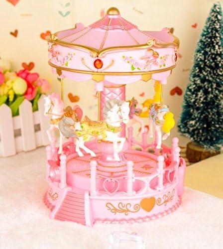 Mings Convient au Cadeau Little Girls Carrousel Rotatif de Grande Taille de Luxe boîte Musicale de Cheval de Clockwork-Rose   Un Design Moderne