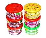 FRUCHT-Sixpack Autoduft Mix 6 L&D Organic Scents Duftdosen. Sortierung: 3 x Cherry,1 x Bubble Gum,1 x Vanille, 1 x Apple