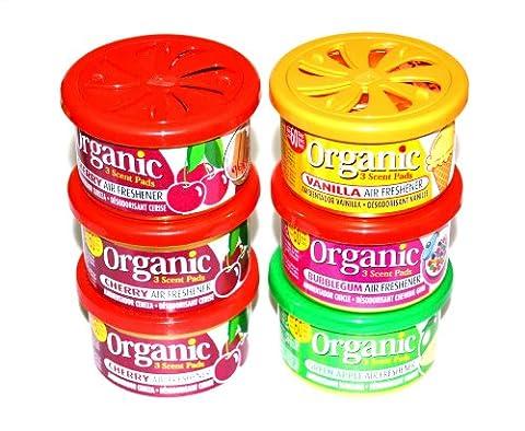 Fruit de Sixpack voiture Parfum Mix 6L & D Organic Scents Parfum Boîtes. Tri: 3x Cherry, 1x Bubble Gum, 1x vanille, 1x Apple