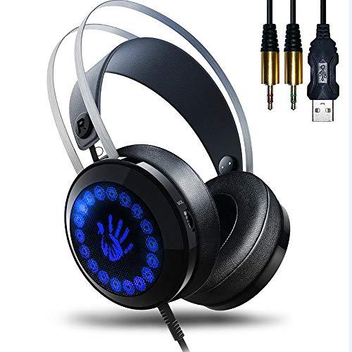 AOSO Gaming Headset - Gaming Kopfhörer G400 PC Headset Stereo Sound Kopfhörer Realismus Over Ear Headset mit Mikrofon und LED Licht Spiel-Headset für PS4, PC, Microsoft Xbox 360, Xbox One Spiele Chat