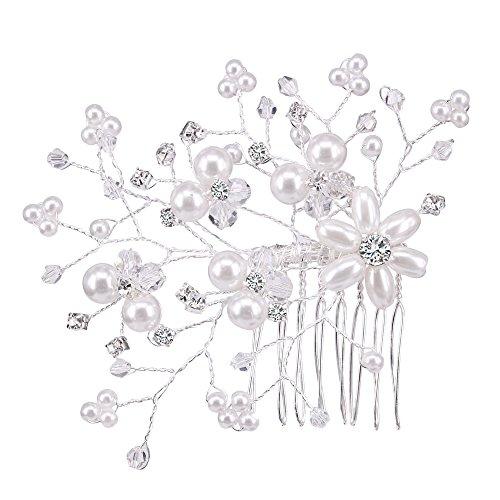 BiBeary Damen elegant Hochzeiten Kristall Simulierte Perlen groß Zwei Blume Manual Handarbeit Haarkamm Haarkämme Haarschmuck Silber-Ton