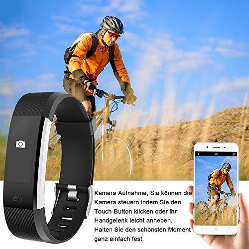 YAMAY Fitness Armband,Wasserdicht IP67 Fitness Tracker Smartwatch Aktivitätstracker Pulsuhren Smart Watch Schrittzähler Fitness Uhr Vibrationsalarm Anruf SMS Whatsapp Beachtenfür iOS Android Handy - 5