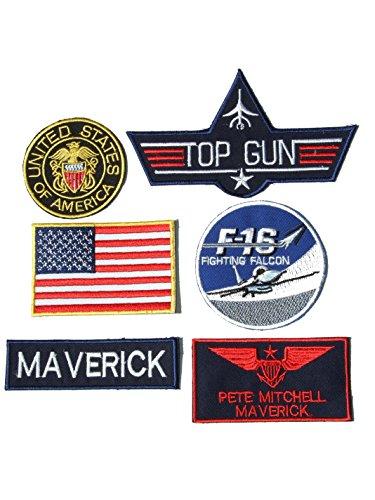 ll Top Gun Fancy Kleid Eisen auf Patch–Set von 6Stickerei-Abzeichen (Top Gun Kleid)