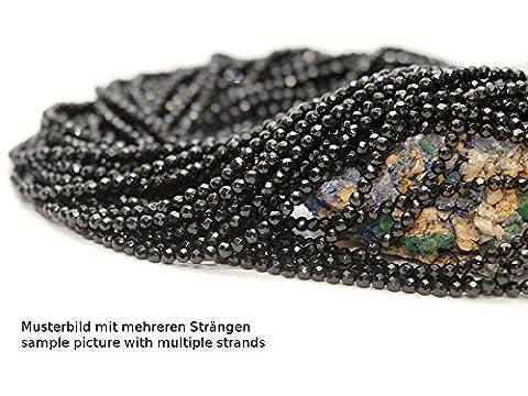 Onyx Strang - facettierte Kugel 4 mm schwarz, Länge 37,5