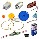 #10: 2 DC Hobby Motor, 3 Pulley Set, Belt, Motor-Direction-Control Switch, 9v Batt, Connector, Switch, Wire DIY Science Kit with Instruction Manual