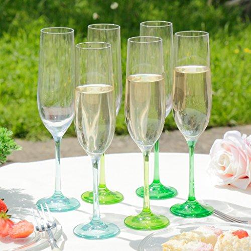 Set von 6Botanical gemischt Komplimente Farben Blau und Grün Champagner Flöten, und genießen ideal für ein Glas Prosecco zu Hause oder auf eine besondere Gelegenheit oder ein ideal Hochzeit Geschenk. h24.5X Boden W6Rand w4.3cm Vorbau 9
