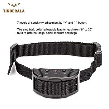 TINDERALA Collier Anti Aboiements avec 7 niveaux de Sensibilité Empêche l Aboiement et Assure un Bon Comportement Collier Anti Bboiements Automatique Collier Réglable pour les Petits et les Grands chiens
