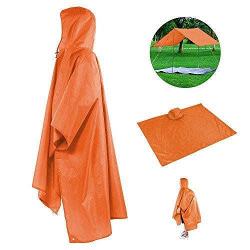 Femmes Hommes Unisexe Rain Poncho imperméable à l'eau RipStop Capuche en PVC imperméable pour chasse Camping Utilisation militaire avec casse-tête d'urgence Corners shelt
