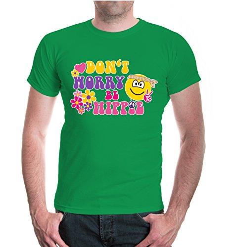 buXsbaum® T-Shirt Dont worry be Hippie kellygreen
