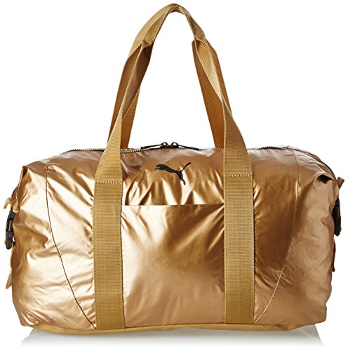 Puma Damen Tasche Fit AT Workout Bag Gold, Metallic grau, 42x 27 x 16 cm, 70 Liter, 74137