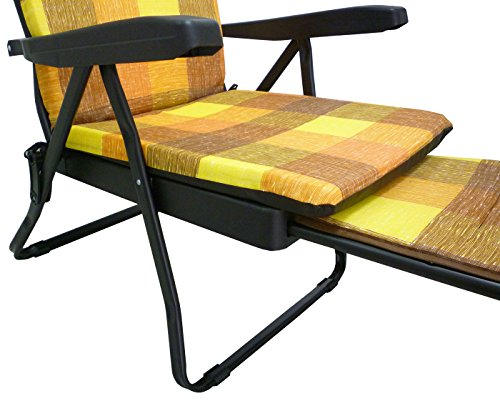 Sedie A Sdraio Imbottite : Poltrona sedia sdraio in metallo imbottita con poggiapiedi per